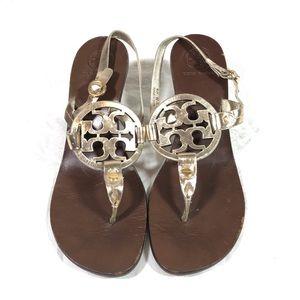 Tory Burch T Strap Sandals Womens 8.5 Gold Heels